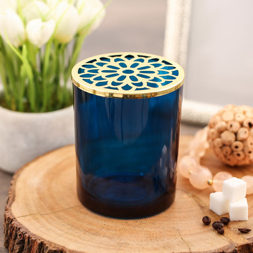 Blue Glass Votive With Decorative Lid