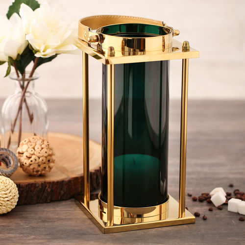 Green Glass Cylindrical Golden Lantern