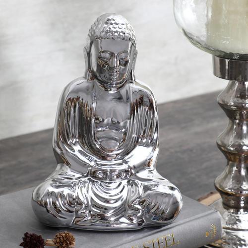 Small Silver Meditating Buddha Statuette