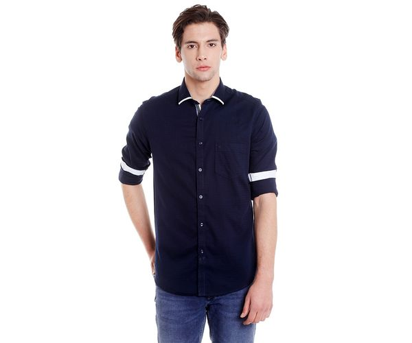 Easies Men's Slim Fit Casual Blue Shirt