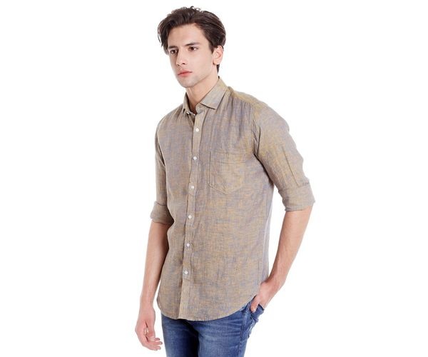 Easies Men's Slim Fit Casual Beige Shirt