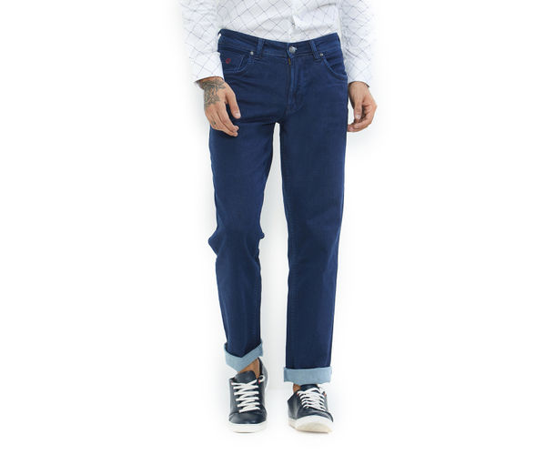 Solid Blue Color Cotton Regular Fit Jeans