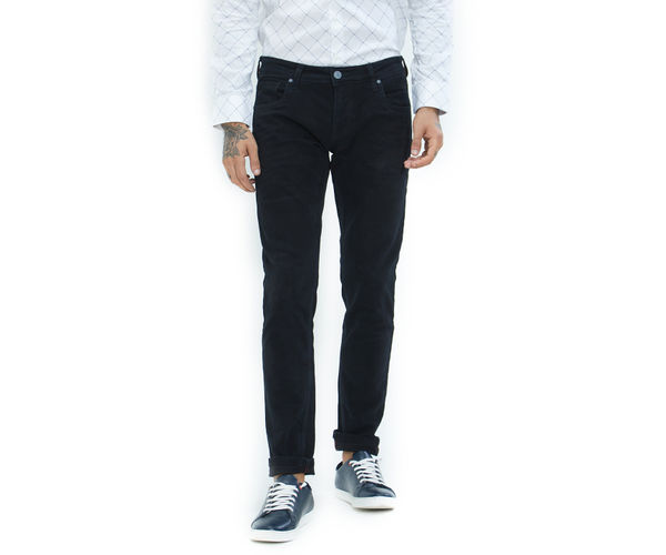 Solid Black Color Cotton Skinny Fit Jeans