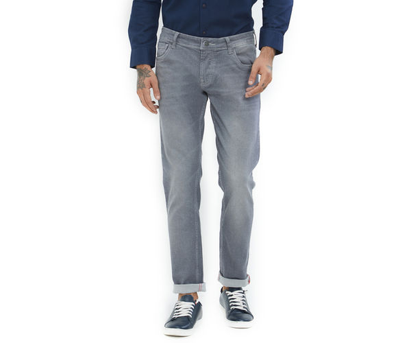 Solid Grey Color Cotton Skinny Fit Jeans