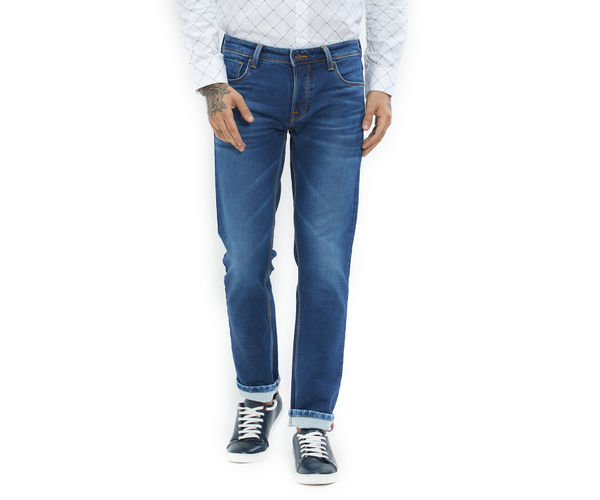 Solid Blue Color Cotton Slim Fit Jeans
