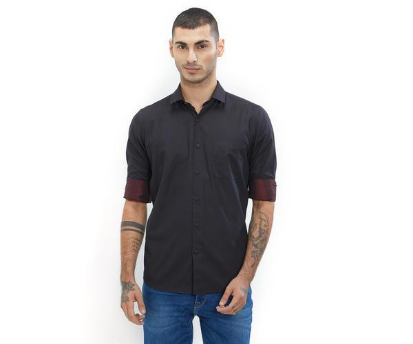 Printed Black Color Cotton Slim Fit Shirt