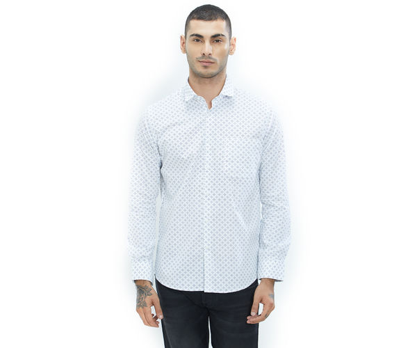 Printed White Color Cotton Slim Fit Shirt