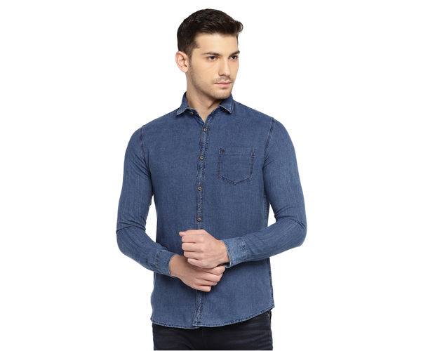 Easies by Killer Solid Blue Color Cotton Slim Fit Shirt