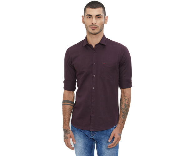Solid Maroon Color Cotton Slim Fit Shirt