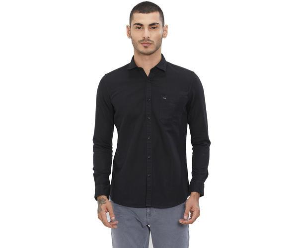 Solid Black Color Cotton Slim Fit Shirt