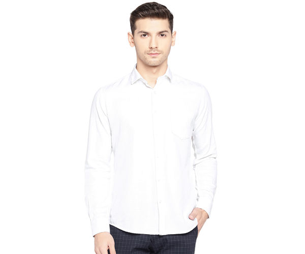 Easies by Killer Solid White Color Cotton Slim Fit Shirt