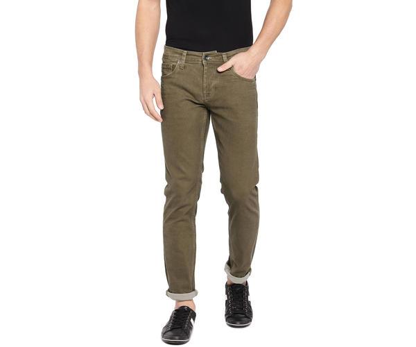 Solid Beige Color Cotton Skinny Fit Jeans