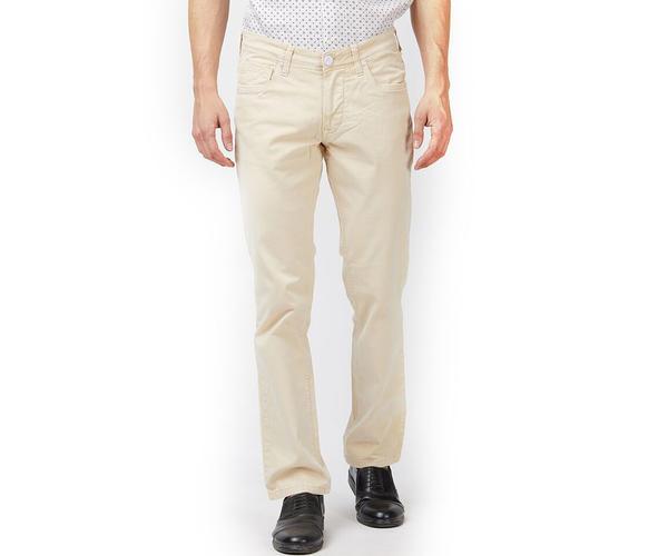 Solid Beige Color Cotton Slim Fit Jeans