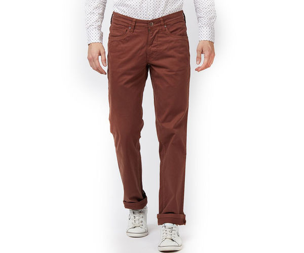 Solid Brown Color Cotton Slim Fit Jeans