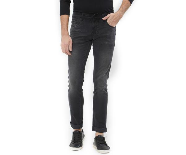 Solid Black Color Cotton Skinny Fit Jeans