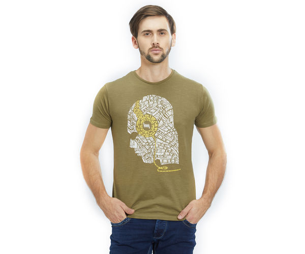 Printed Green Color Cotton Slim Fit T-Shirt