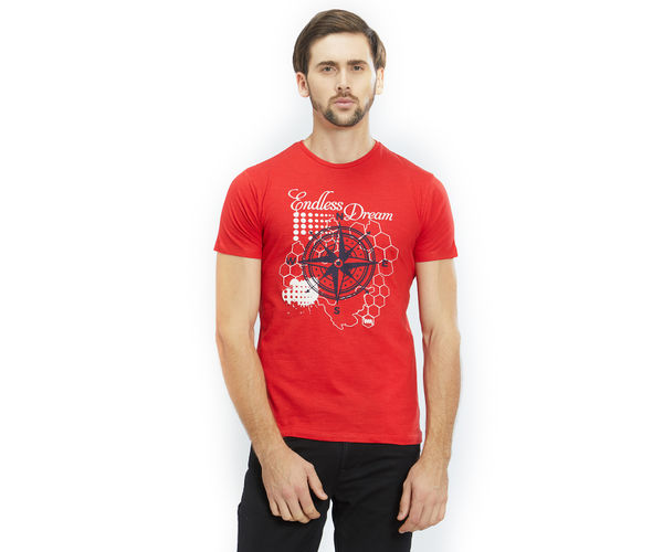 Printed Red Color Cotton Slim Fit T-Shirt