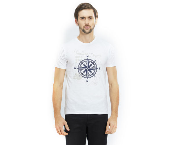 Printed White Color Cotton Slim Fit T-Shirt