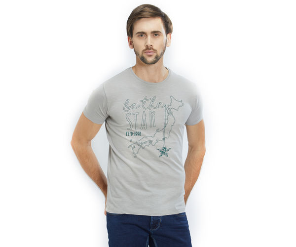 Printed Grey Color Cotton Slim Fit T-Shirt