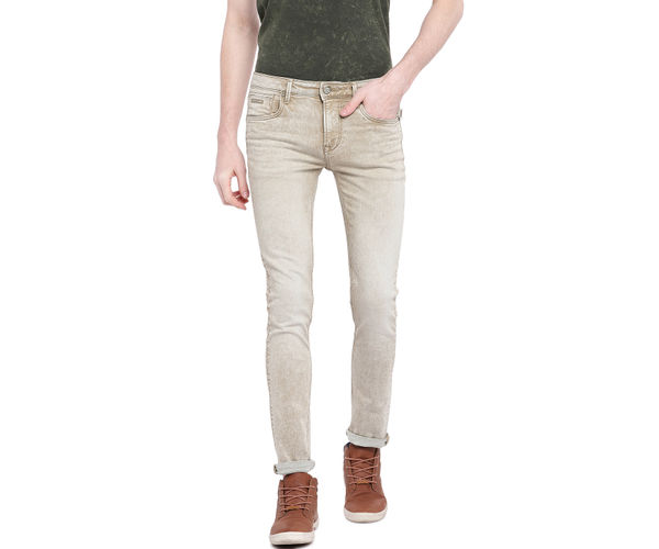 Solid Beige Color Cotton Dunn Fit Jeans