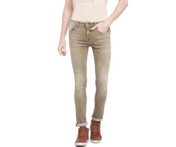 Solid Beige Color Cotton Slank Fit Jeans
