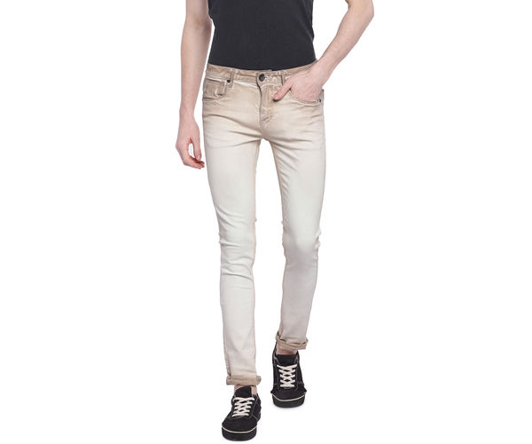 Solid Beige Color Cotton Dunn Fit Jeans