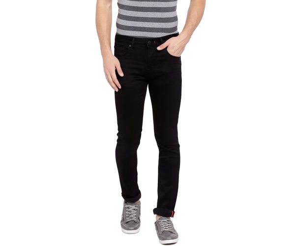 Solid Black Color Cotton Straight Fit Jeans
