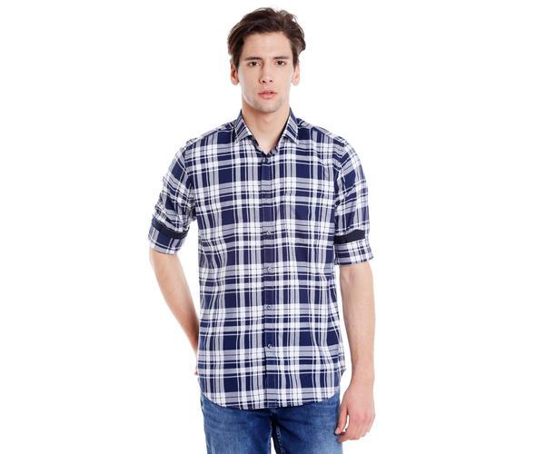 Easies Men's Slim Fit Casual Blue Shirt