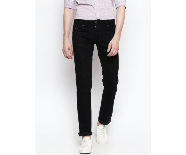 Solid Black Color Cotton Skinny Jeans
