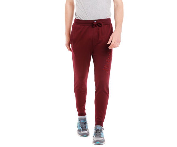 Solid Maroon Color Cotton Slim Fit Track Pant