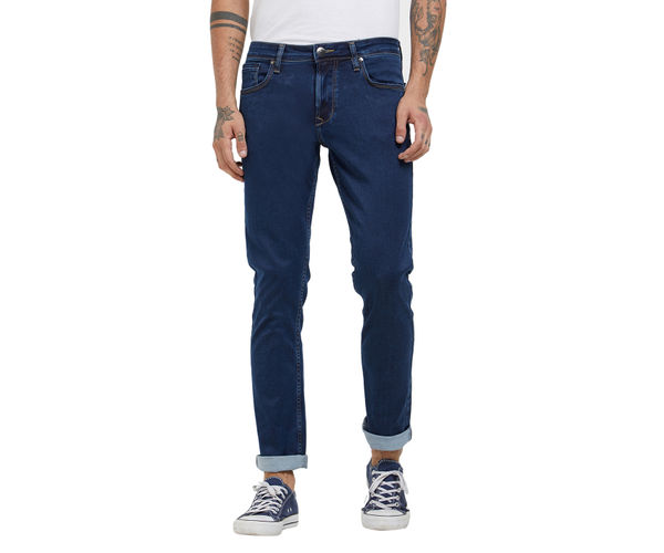 Solid Blue Color Slim Fit Jeans