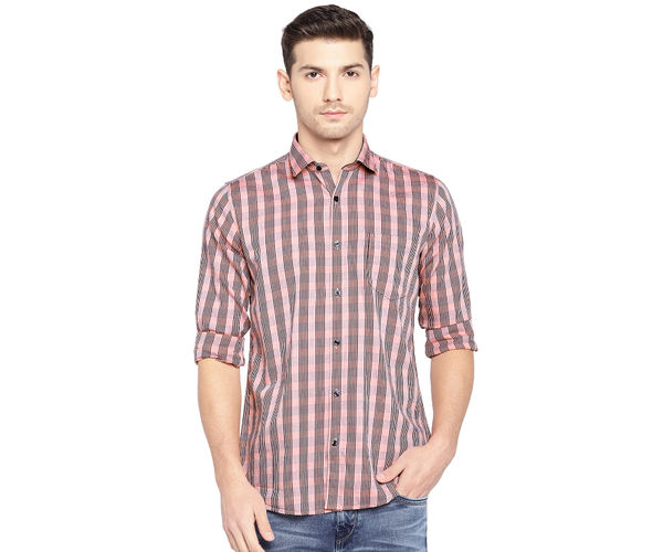 Easies By Killer Checkered Orange Color Cotton Slim Fit Shirt