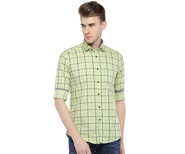 Easies By Killer Checkered Green Color Cotton Slim Fit Shirt