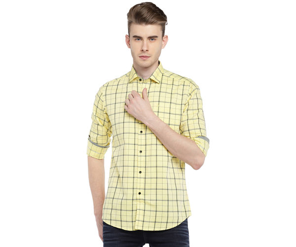 Easies By Killer Checkered Yellow Color Cotton Slim Fit Shirt