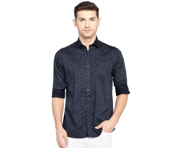 Easies By Killer Printed Blue Color Cotton Slim Fit Shirt