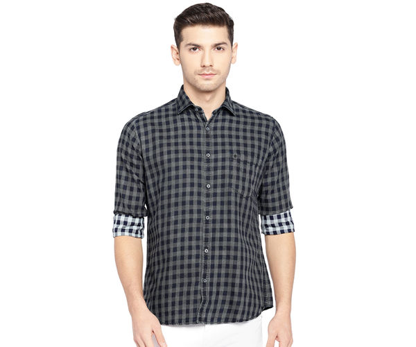 Easies By Killer Checkered Grey Color Cotton Slim Fit Shirt