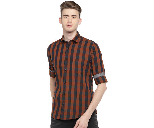Easies By Killer Checkered Brown Color Cotton Slim Fit Shirt
