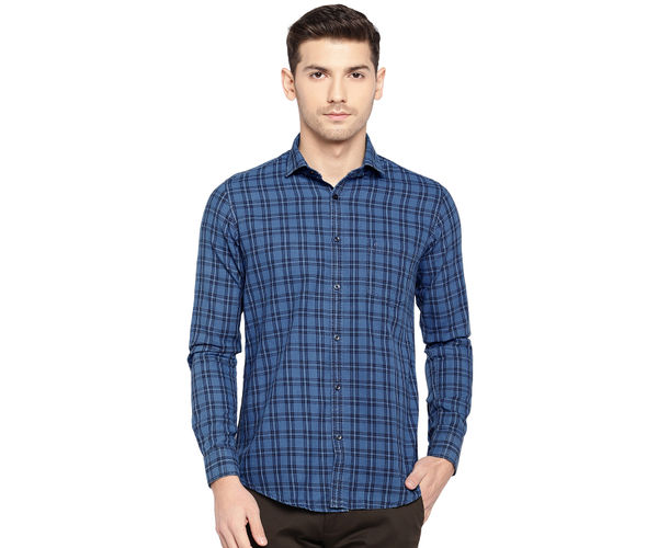 Easies By Killer Checkered Blue Color Cotton Slim Fit Shirt