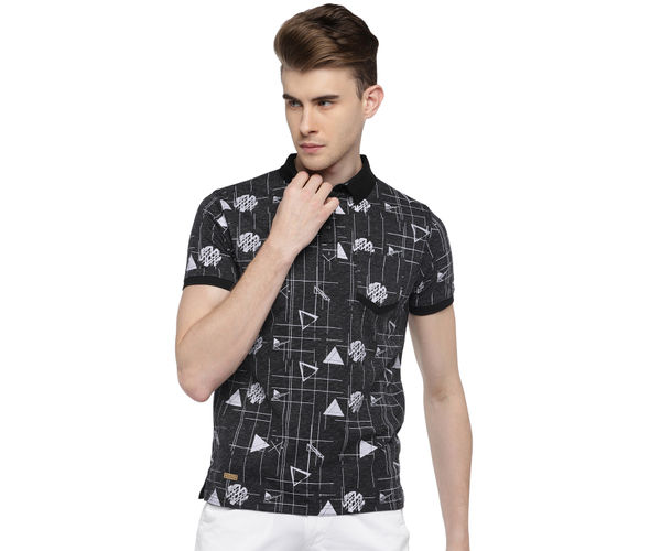 Easies By Killer Printed Black Color Cotton Slim Fit T-Shirt