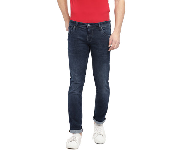 Solid Blue Color Cotton Skinny Fit Jeans