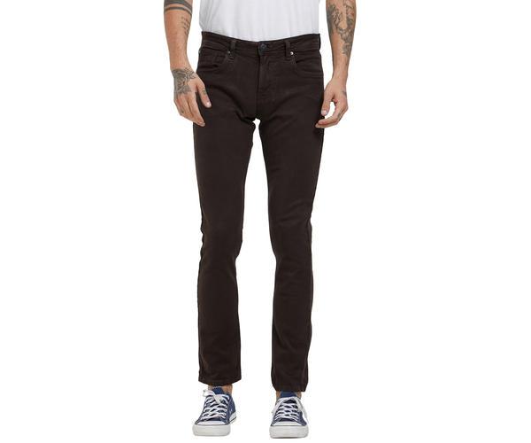 Solid Brown Color Cotton Slim Fit Jeans