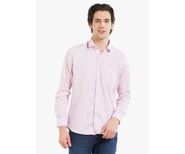 Printed Pink Color Cotton Slim Fit Shirt