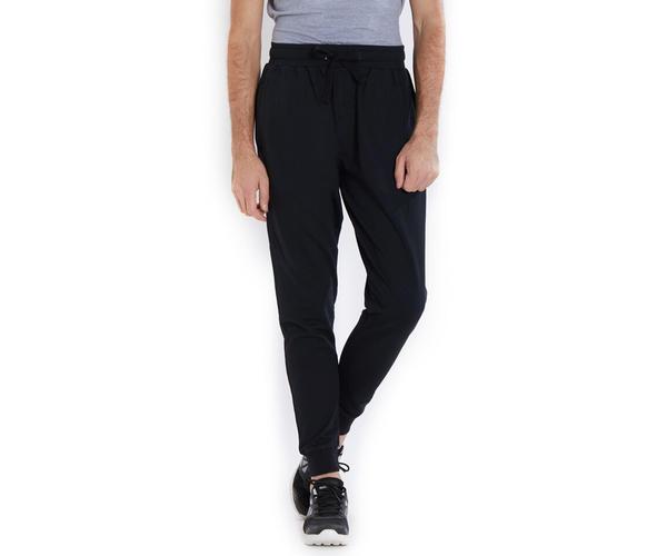 Solid Black Color Cotton Regular Fit Track Pant