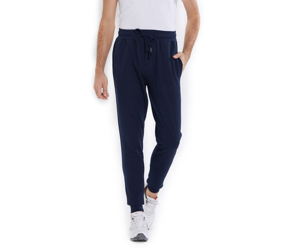 Solid Blue Color Cotton Regular Fit Track Pant