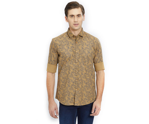 Printed Brown Color Cotton Slim Fit Shirt