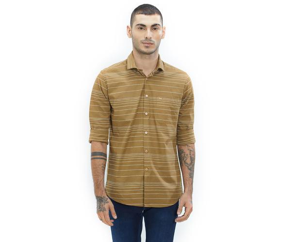 Striped Brown Color Cotton Slim Fit Shirt