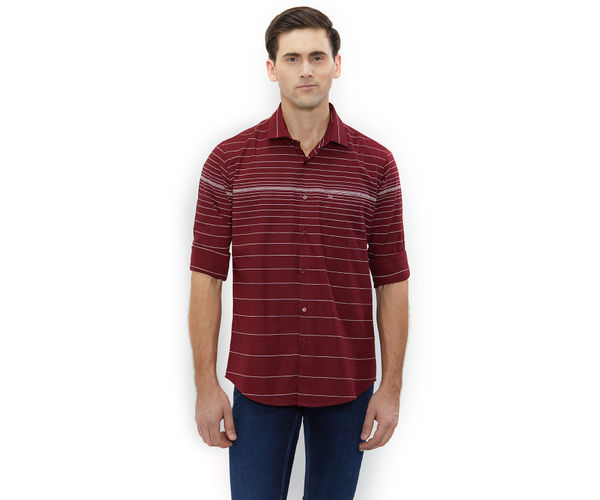 Striped Maroon Color Cotton Slim Fit Shirts