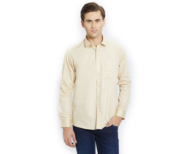 Solid Yellow Color Cotton Slim Fit Shirt
