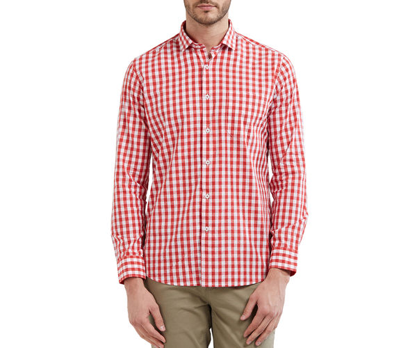 Checkered Red Color Cotton Slim Fit Shirt