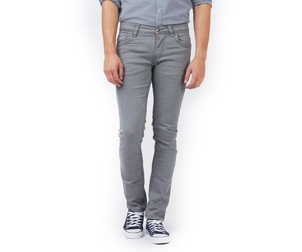 Solid Grey Color Cotton Slim Fit Jeans